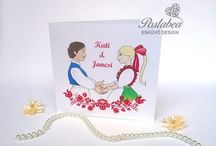 Figurás esküvői meghívók - Wedding invitation with graphics