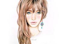 sketch girl ilusration