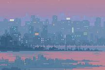 pixel art cityscape moody