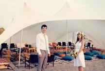 Israeli beach wedding party