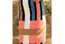 Skirt - Handmade Skirt - Midi Skirt - Pencil Skirt - Striped Skirt - Slit Skirt - Lining Skirt