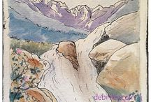 Watercolor Mountains / watercolor paintings of mountains and hills