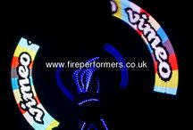 Glow LED Light Acts / Amazing glow LED light performers for any event. Glow jugglers, spinners, dancers. Stunning glow patterns, text or logos appear in the air. Shows or freestyle acts. Get in touch for availability and prices. www.fireperformers.co.uk or phone 0117 935 5200