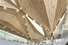 Airport, railway stations interiors