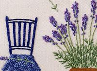 Lavender chair scene and rambling rose