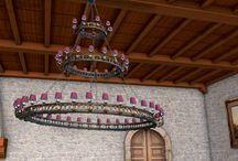 Lustres de style médieval / Les premiers lustres étaient en fer forgé ou en bois sur lequel on posait des bougies. Nous reproduisons au modèle ce genre de lustres, en les électrifiant ou non, suivant vos besoins