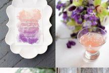 Violet, green, plum wedding theme