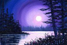 Small canvas purple moon light / Moon and trees