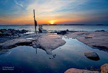 Auringonlasku. Sea.