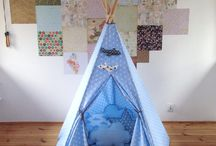 Cotton teepee / The tent is large and stable. Sticks are arched on both ends and hidden in tunnels, which are stitched at the bottom. ● Length of sticks is 180 cm. Standing tepee is about 170 cm height. Diameter of the base is 120 cm. ● Tepee is made of 100% cotton fabrics.