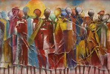 Epaphrodite Binamungu, peintre / En 1973, Epa Binamungu a tenu sa première exposition solo en République Démocratique du Congo. Depuis il a participé à de nombreuses expositions au Rwanda, Burundi, Kenya, Ouganda, Tanzanie, ainsi qu'en Allemagne (Hanovre, Exposition universelle de 2000), en Suisse (Genève, Europ'Art 2002, aux États-Unis (Los Angeles, 2002), en France (Creil, 2006 et Romans 2008) et en Chine (Shanghai, Exposition universelle de 2010).