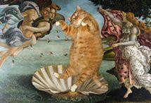 """""""Fat Cat Art"""" by Svetlana Petrova / Russian artist Svetlana Petrova inserted photos of her fat cat Zarathustra into paintings."""