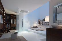 Salle de bain ouverte / Les salles de bains décloisonnées sont très tendances! De la simple baignoire îlot à la salle de bain intégrée dans la chambre avec une légère séparation, la salle de bain ouverte nous fait envie...