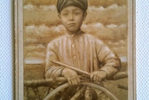 Sepia mixed media works. / Oil paint & graphite on vintage photographs.