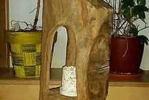 Deko aus Holz und Licht