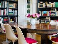 Library Dining Room Combo / I love the European idea of dining surrounded by the ambience of old leather bound books. It also doubles the use of an otherwise seldom used space!  / by Monica Whaley