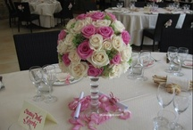 Pink wedding centerpiece