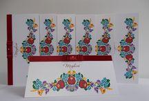 Kalocsai mintás esküvői meghívók / Stilizált és autentikus mintákkal nyomtatott esküvői meghívók