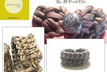 CROCHET DESIGN / T-shirt yarn bracelets Pulseras de TRAPILLO