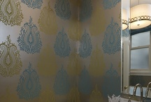 Work in Progress - my powder room / Ideas for my powder room , which is a work in progress.  I already found the wallpaper (the Villa Nova in teal/chartreuse) and have it hung.  Just trying  to figure out the rest.