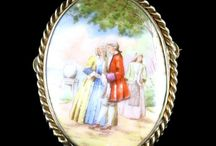 Hand-Painted Victorian Brooches