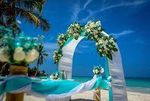 Небесно-голубая свадьба: арка