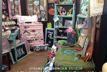 The Boutique Booths of Dreamin Bohemian Studio / As an artist and painter of just about anything and collector of every thing, I get to set up my wares at different antique and boutique malls and shows. This is my current space at The Plaid Peacock in Roanoke, Texas.  www.dreaminbohemian.com www.facebook.com/dreaminbohemian www.etsy.com/shop/dreaminbohemian and on instagram as dreaminbohemiandesigns