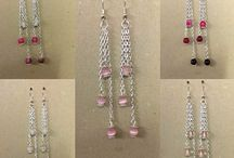 Dangle Chain Earrings with Pink Gemstones / Within this collection I decided to create pairs of dangle chain earrings with added gemstone beads and Tibetan Silver daisy spacers. We have other semiprecious stones in stock should you wish an alternate colour or different findings . Should you require a different gemstone, or findings that we do not have in stock we will endeavor to research and buy in as required.