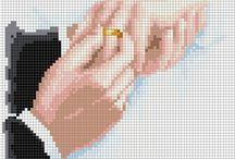 Haft krzyżykowy -ślub