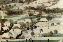 Pieter Bruegel (1525/30 - 1969) / Renaissance en Europe XVI.  Il applique la perspective à ses tableaux tout en puisant son inspiration dans les scènes populaires ou folkloriques. Il met en scène des personnages typés souvent frustres, sur lesquels il porte un regard amusé et bon enfant, ou brosse un hommage à la nature, dans lequel des hommes minuscules semblent se livrer à des activités de fourmis.
