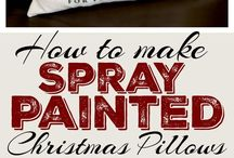 Diy pillowswith spray paint