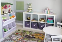 Small playroom ideas / Ideas for small playrooms. Playroom storage, playroom organisation, playroom layouts, playroom decoration.