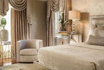 Elegant Transitional Master Suite / Clean lines combined with curves create a look that balances both masculine and feminine attributes which results in a comfortable and relaxing design. The focus is on simplicity and sophistication in design with minimal accessories and neutral color palette