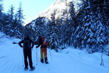 Snowshoeing / Snowshoeing is a great winter activity for everyone! Snowshoeing is easy to learn and you do not need much for it. No matter if you just want to relax, walking through a beautiful winter landscape or if you want to challenge yourself, hiking up on one of the outstanding peaks around the Mont Blanc Valley. The snowshoes make it possible to walk through deep snow without sinking into it. We can leave the large, unspectacular forest roads and make our own fresh tracks in the powdery, glittery snow!