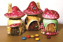 Fairy houses from jars foil and clay