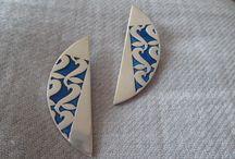 Norwegian silver enamel earrings