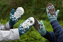 Knitting mittens- strikket vanter  fingerless glowes- pulsvarmere / Models