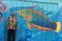 Kelco Historical Mural / These pictures were taken when I was working with master muralist Salvador Roberto Torres in 2010 during the restoration of the Kelco historical mural in the Barrio Logan section of San Diego. I had a great time!