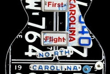 Guitar Art - License Plate Art Les Paul / Custom Les Paul-style guitar art handcrafted from license plates. Unique guitar decor that can be personalized for each individual.