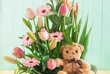 Teddy bear floral arrangement