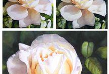 수채화로 꽃그리기