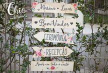 Placas Madeira Indicativa Casamento