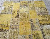 Patchwork rug / Turkish overdyed rug. Turkish patchwork rug. Handmade wool carpet.