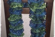 MOJE PRACE: Finezyjne szale / Szale robione na drutach z włóczki Frilly.