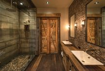 rustic stone spa bathroom