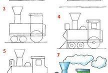 Cartoons veiculos- como desenhar / Este álbum mostra os passos para desenhar os cartoons de aviões, carros,etc.