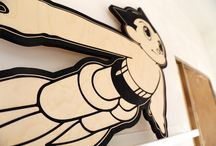 Plywood Astroboy / I made a large Astroboy out of plywood with Illusrator and Lasercutter, in honor of the great Osamu Tezuka and because I have been a big fan of Astroboy since I was a young kid.  Size 92cm by 70cm