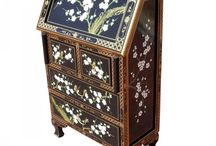Chinese Cherry Blossom Lacquer Furniture / Exquisite design and attention to detail. Affordable and practical.   Available for customers to buy in the UK and EU from stock located in England. Visit our website at www.asiadragon.co.uk