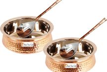 Copper Handi and Serving Spoon