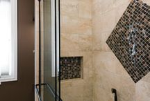 Bathroom Design | Bloomingdale / This Bloomingdale Bathroom proves that mosaics don't always have to fit linearly. Change things up a bit.